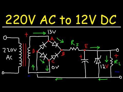 220V AC to 12V DC Converter Power Supply Using Diodes, Capacitors, Resistors, & Transformers