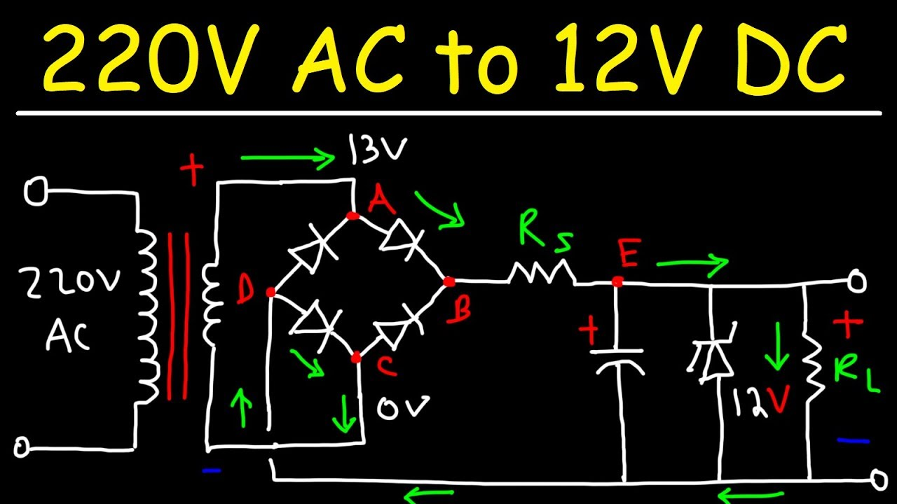 220v Ac To 12v Dc Converter Power Supply Using Diodes Capacitors Resistors Transformers Youtube