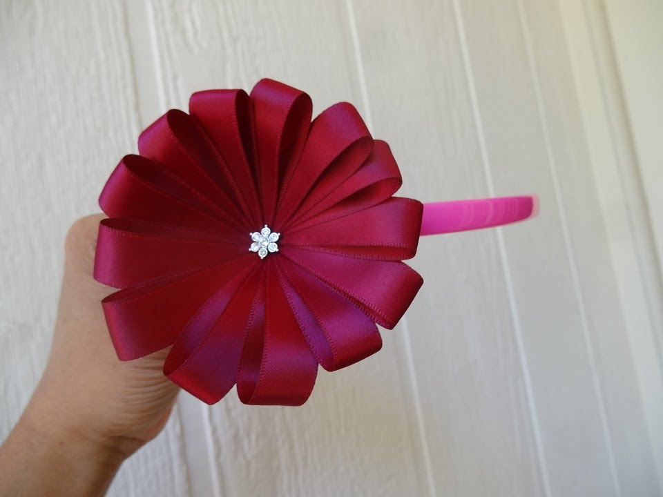 How to make ribbon flower in 5 minutes   YouTube How to make ribbon flower in 5 minutes