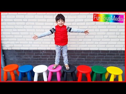 Family Fun Toys Activity Playing and Learning Colors with Stools for Families and Children