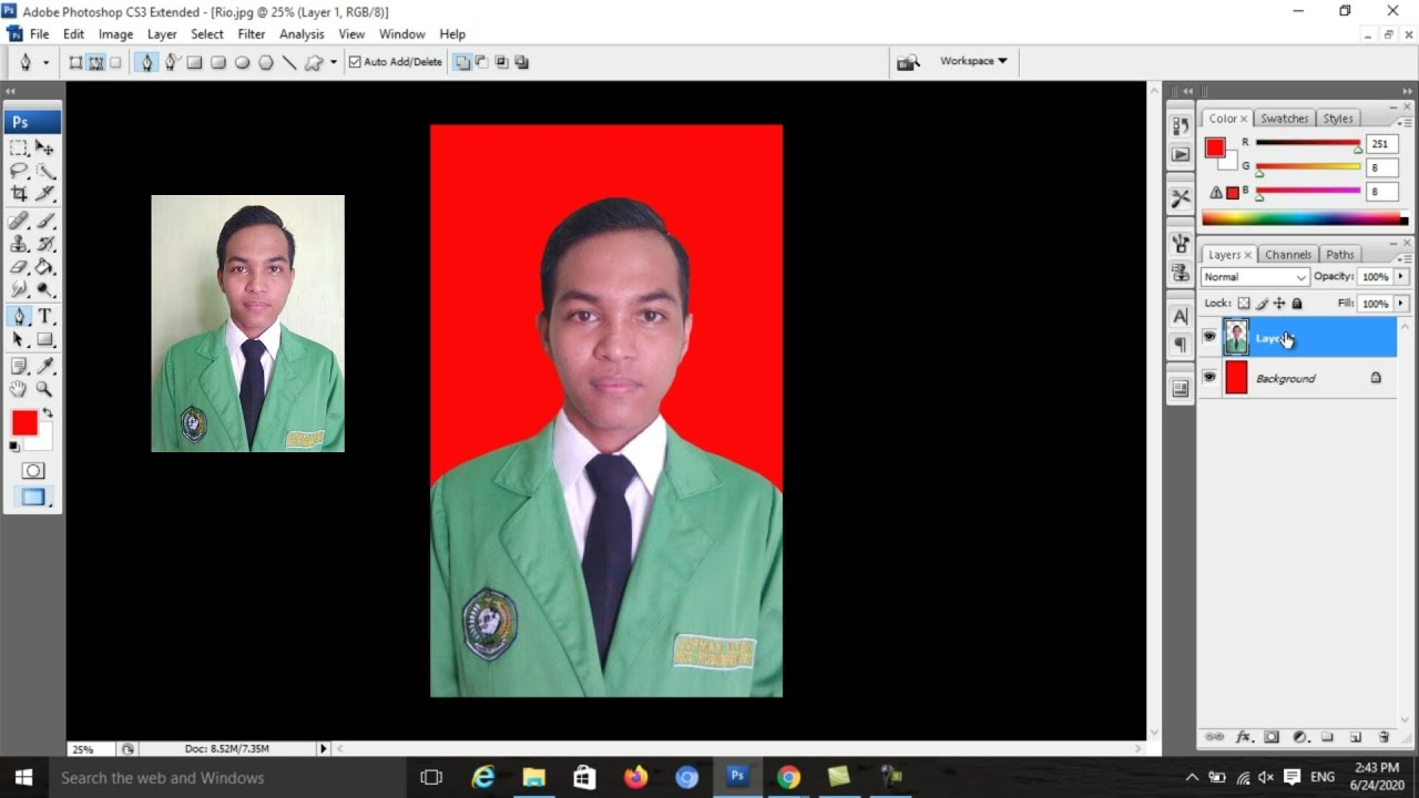 Cara edit foto latar belakang merah || Photoshop CS3 - YouTube