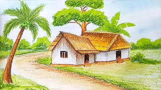 How to draw village scenery step by step with oil pastels