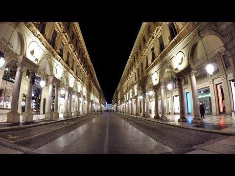 Turin, Italy. Night Walk in the City Centre. Torino Centro di Notte