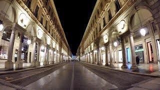 Turin, Italy. Night Walk in the City Centre