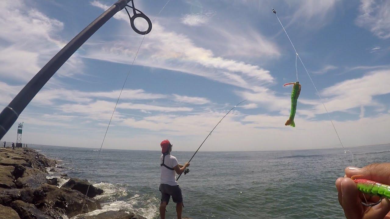 Shore Fishing for Fluke Using Gulp Products Barnegat Light NJ