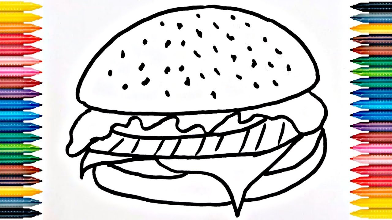 Drawing Fast Food Learn How to Draw Hamburger Coloring Book ...