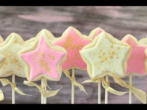 How To Decorate Princess Wand Cookie Pops, Luster Dust Splattering Technique