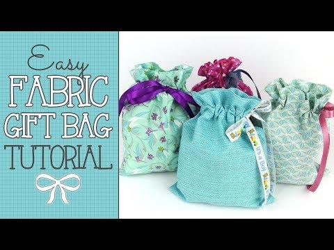 Drawstring Fabric Gift Bag Tutorial - Quick & EASY Scrap Buster