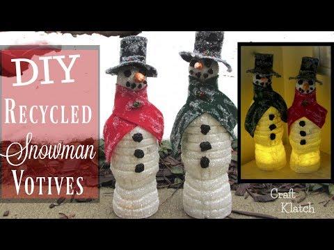 water-bottle-snowman-votives- -recycling-craft-tutorial- -craft-klatch