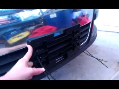 Install no drill front license plate holder Volkswagen Passat 2008 - YouTube