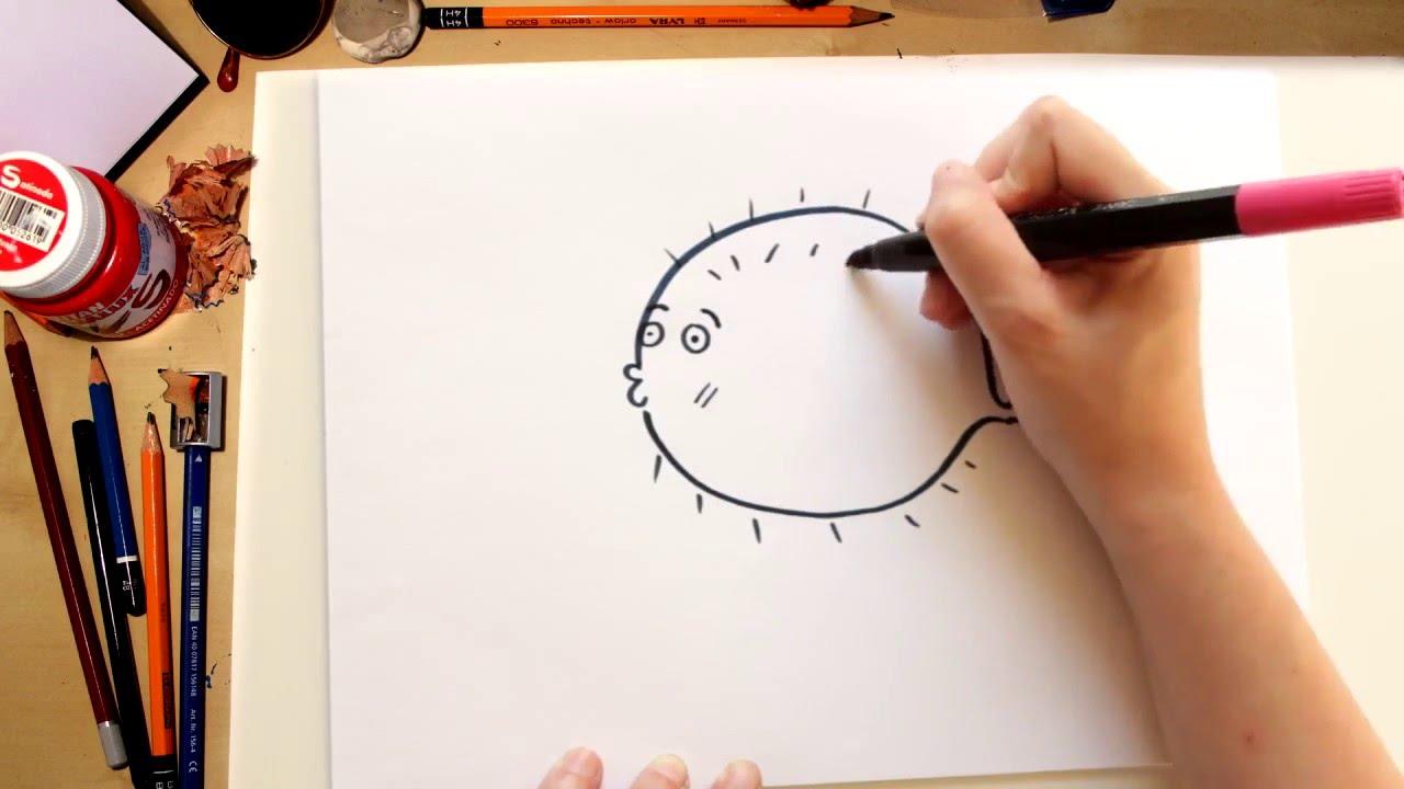 Como dibujar un Pez Globo facil  dibujos para nios  YouTube