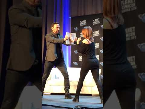 Jason David Frank Teaches Amy Jo Johnson to Break a Board at Planet Comicon 2018
