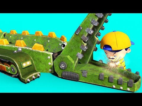 AnimaCars - JONNY repairs the CROCODILE's teeth - cartoons for kids with trucks & animals