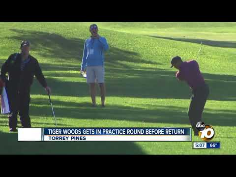 Tiger Woods practices at Torrey Pines