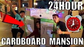 24 HOUR OVERNIGHT CHALLENGE!! IN CARDBOARD MANSION!! (Outside A Bagel Shop)!!