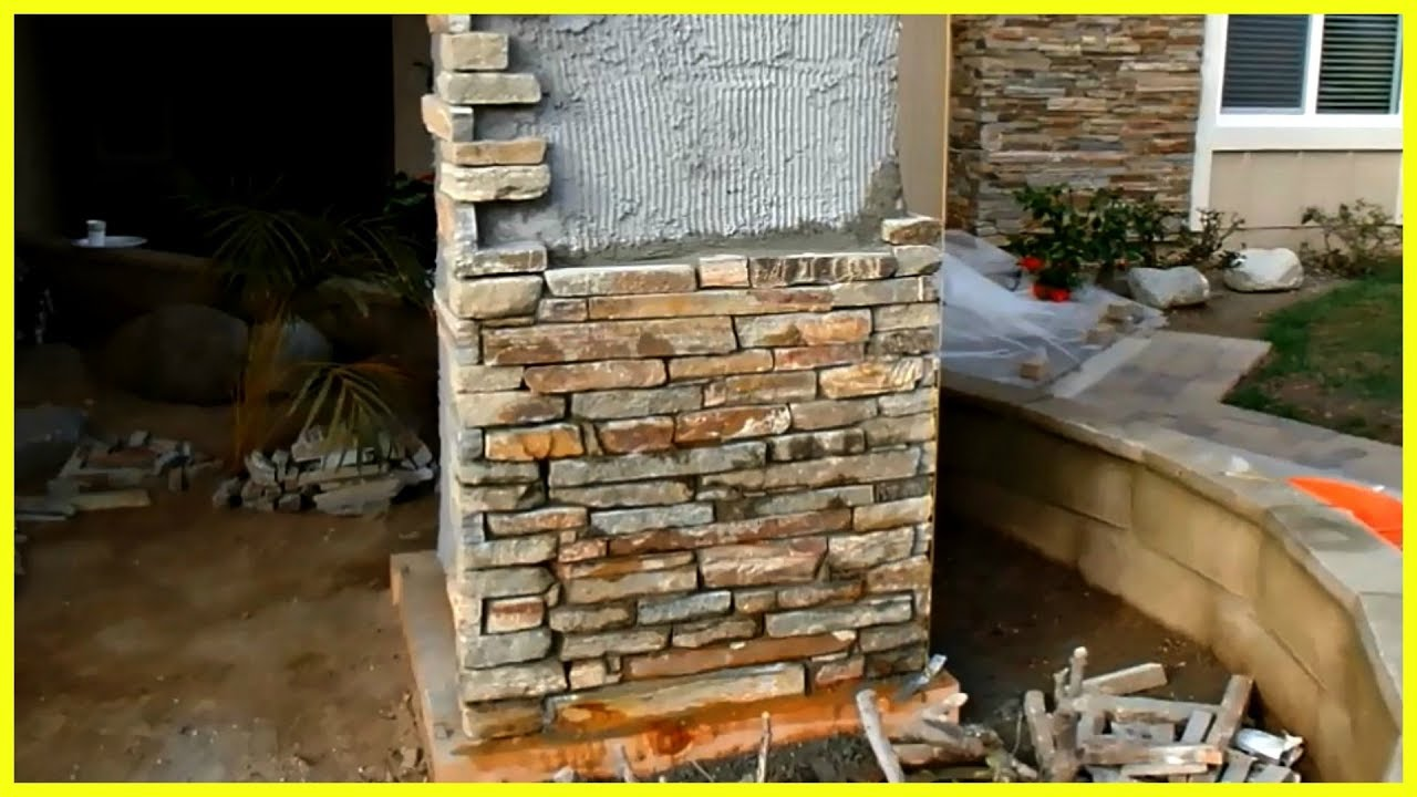 Natural Thin Veneer Stone Installation Outdoors Ledgestone
