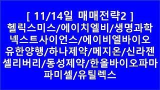 [주식투자]11/14일 뉴스 및 매매전략2(헬릭스미스/…