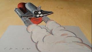 Drawing Spaceship Atlantis - 3D Space Shuttle Illusion - VamosART
