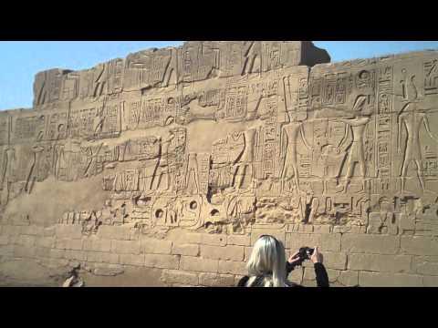 Photographing Hieroglyphs At Karnak Temple