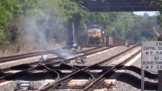 CSX Train Moving Thru Fire On The Tracks