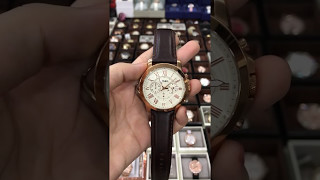 Fossil Original FS4991 Men's Grant Brown Leather Watch 44mm Chronograph