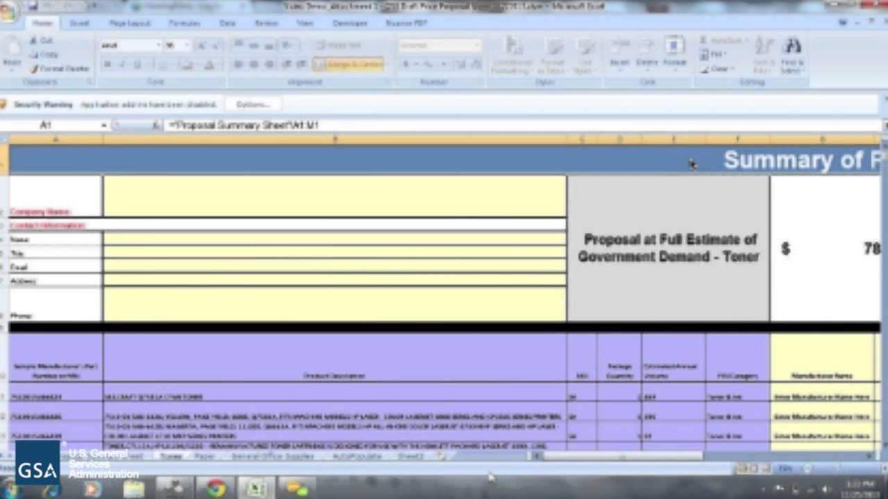 FSSI OS3 Draft RFP Price Proposal Sheet