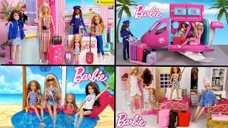 Barbie Sisters Girls Vacation Airplane Travel Routine - Airport, Toy Hotel and Pool!