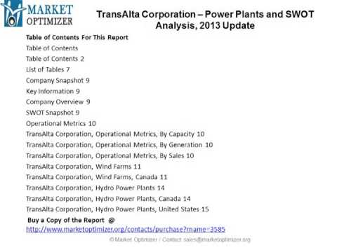 Power Plants and SWOT Analysis of TransAlta Corporation 2013