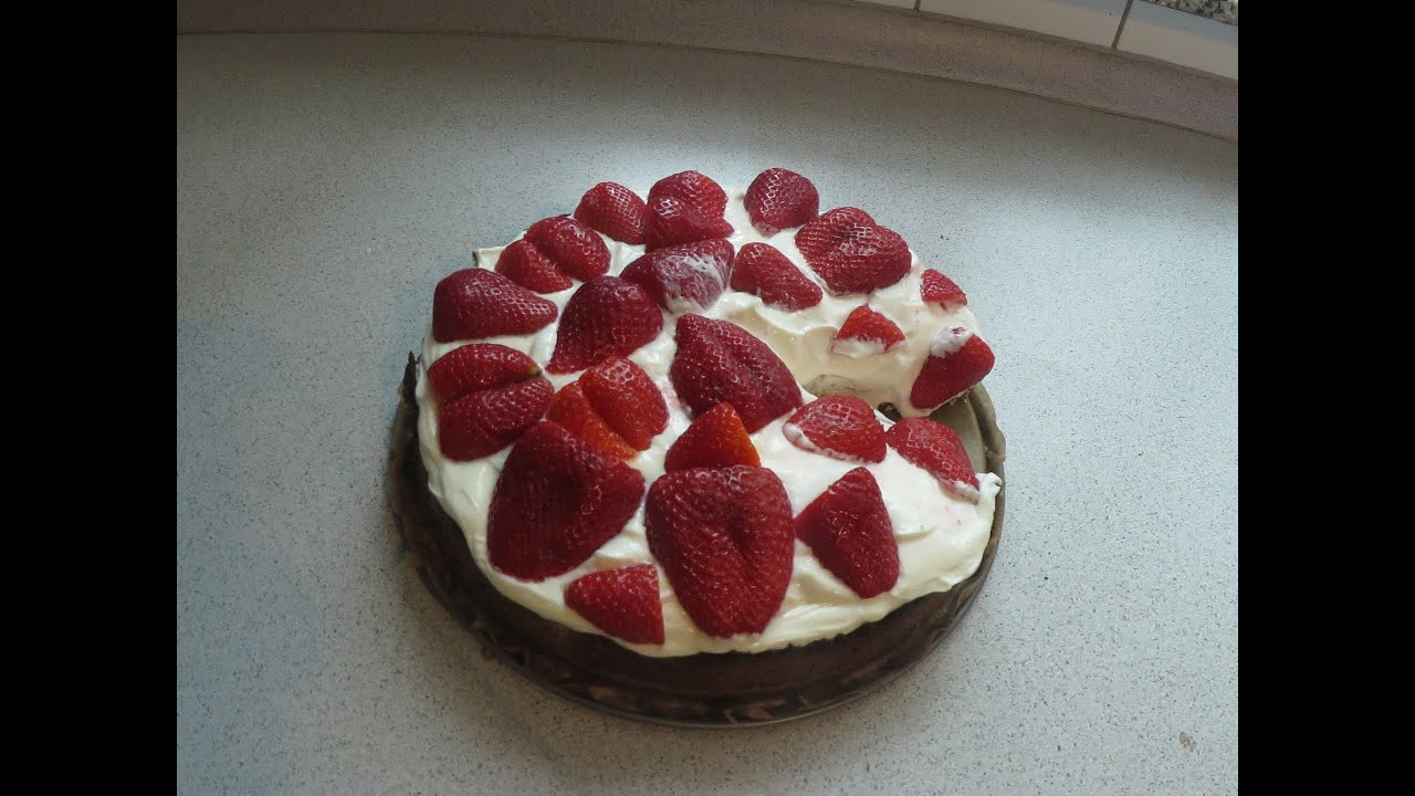 Low Carb Erdbeerkuchen Mit Kokosboden Strawberrycake Sugarfree No