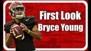Kyle henderson of bamainsider.com provides a first look at alabama true freshman quarterback bryce young. how excited are you to see young play for ala...