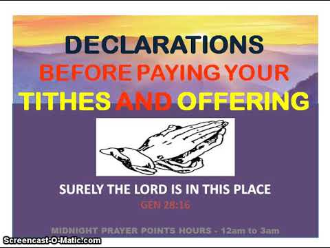 Declaration Before Paying Your Tithe And Offering