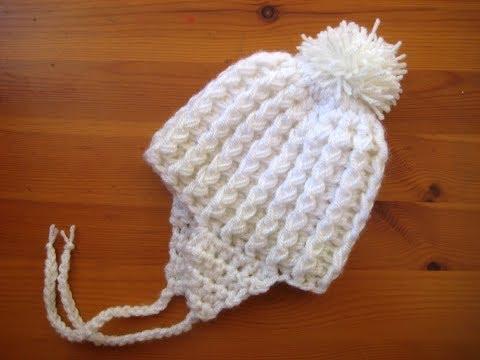 "Easy crochet Newborn baby hat 14"" Ear flaps Pom Pom tutorial"