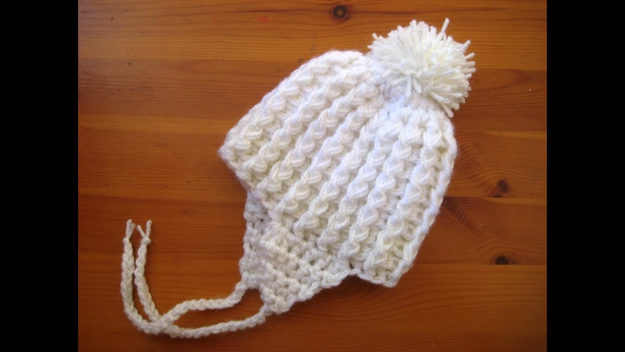 Easy Crochet Newborn Baby Hat 14 Ear Flaps Pom Pom Tutorial Youtube