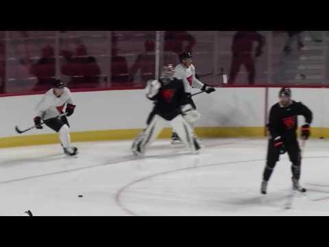 Gotta See It: Auston Matthews flies during Team North America drills