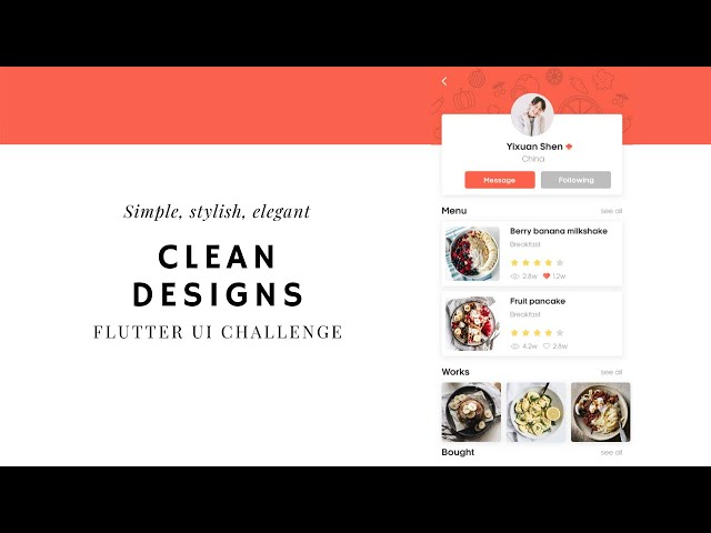FlutterUI - Clean designs - Chef Profile