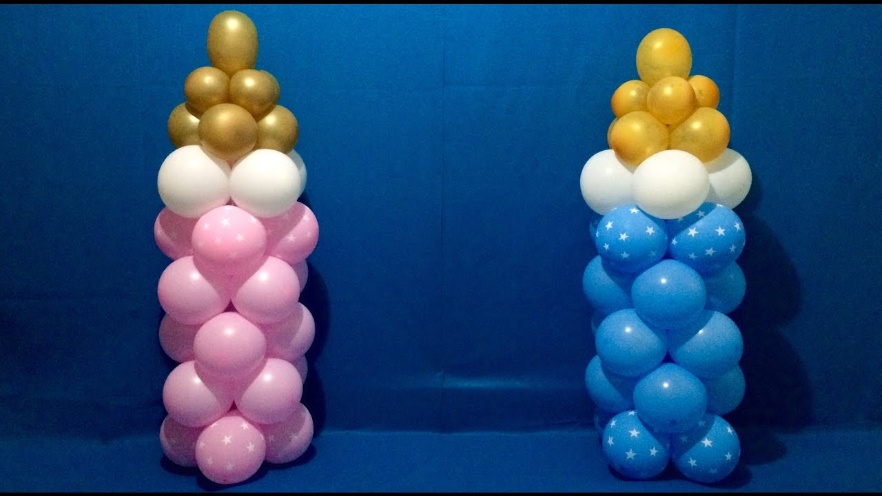 Dollar Store Baby Bottle Balloon Columns Tutorial   YouTube
