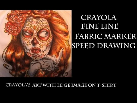 Art with Edge Sugar Skull Speed Coloring using Crayola's Fine Line Fabric Markers