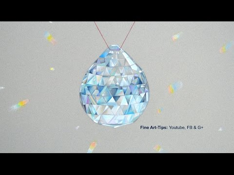 How to Draw a Crystal Pendant, Swarovski Style - With Color Pencils - Glass