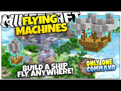 Minecraft | FLYING MACHINES | Build & Fly Airships | Only One Command (Minecraft Custom Command)