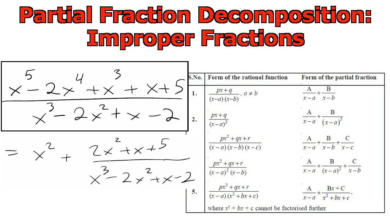 Partial Fraction Decompositon Improper Fractions Youtube