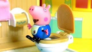 Pig George Has Tummy Ache after Eating Cake and Poops in the Toilet Candy Play Doh Peppa Pig Parody