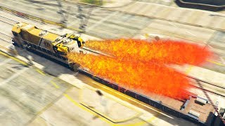 GTA V - Rocket Train 1000mph Crashing Vehicles
