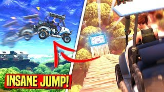 JUMPING DUSTY DIVOT in a Golf Cart in Fortnite Battle Royale! (INSANE JUMP)