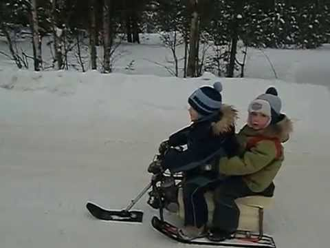 видео: детский снегоход (буран) своими руками, мини снегоход
