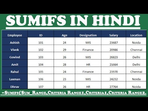 How To Use SUMIFS Formula In Excel Hindi