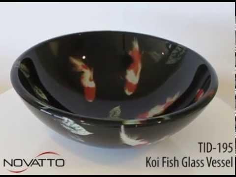 TID-195 Glass Bathroom Sink With Koi Fish