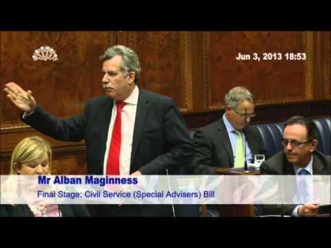 SDLP Alban Maginness speaking on the SPAD Bill