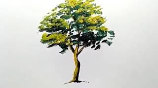 cara melukis pohon dengan cat , mudah dan cepat