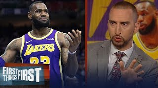 Nick Wright criticizes LeBron's defense since returning from injury | NBA | FIRST THINGS FIRST