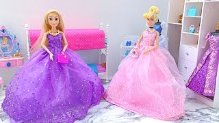 🎀 BARBIE PRINCESS BEDROOM 🎀 CINDERELLA RAPUNZEL MORNING ROUTINE BATHROOM 🎀 BARBIE DOLL HOUSE